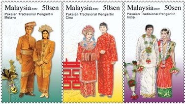 Malaysian stamps depicting the three official 'races'